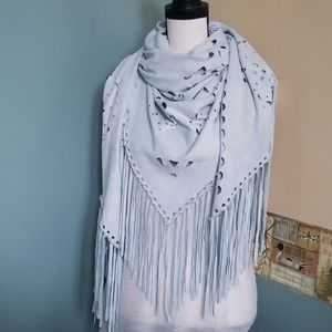 Faux suede triangle scarf/wrap with fringe